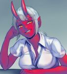 1girl collarbone demon_girl demon_horns elbows_on_table estyy eyebrows_visible_through_hair grey_hair horns id_card long_hair mole mole_under_eye original parted_lips pointy_ears red_skin slit_pupils smile solo table yellow_eyes