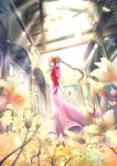 1girl aerith_gainsborough bow braid braided_ponytail brown_hair church cropped_jacket dress final_fantasy final_fantasy_vii final_fantasy_vii_remake flower green_eyes highres holding holding_flower indoors jacket long_braid long_hair looking_at_viewer looking_to_the_side moriiiiiiiiiinn open_roof_top petals pink_bow pink_dress red_jacket single_braid solo sunlight