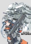 1girl absurdres battlefield_2142 blue_hair commentary english_commentary gatling_gun green_eyes helmet highres holding holding_weapon longmei_er_de_tuzi mecha science_fiction simple_background twintails weapon