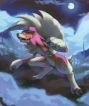 claws clouds cloudy_sky commentary creature dark english_commentary fog full_body full_moon gen_7_pokemon grass lycanroc lycanroc_(midnight) moon night night_sky no_humans outdoors pinkgermy pokemon pokemon_(creature) red_eyes sharp_teeth sky solo standing star_(sky) starry_sky teeth