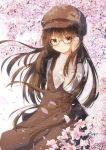 1girl absurdres bangs blurry blurry_background blush brown-framed_eyewear brown_dress brown_eyes brown_hair brown_headwear cabbie_hat closed_mouth commentary_request coreytaiyo dated depth_of_field dress eyebrows_visible_through_hair flower hair_between_eyes hand_up hat highres long_hair long_sleeves original petals pink_flower plaid plaid_dress semi-rimless_eyewear signature sleeveless sleeveless_dress solo sweater tree_branch turtleneck turtleneck_sweater under-rim_eyewear unmoving_pattern very_long_hair white_sweater