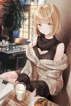 1girl against_wall aran_sweater bangs blonde_hair bob_cut chair character_request cleavage_cutout copyright_request cup detached_sleeves dress drinking_glass food heart_cutout highres indoors layered_clothing light_smile long_sleeves looking_at_viewer meme_attire milk mole mole_under_eye nabi_(uz02) off_shoulder open-chest_sweater paper paperclip ribbed_sweater saucer sitting sleeveless_sweater sleeves_past_wrists solo sweater sweater_dress table turtleneck turtleneck_sweater yellow_eyes