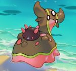 beach blank_eyes commentary creature english_commentary full_body gastrodon gastrodon_(west) gen_4_pokemon gen_7_pokemon looking_at_viewer looking_back no_humans ocean outdoors pinkgermy pokemon pokemon_(creature) pyukumuku shadow water