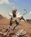 blue_sky clouds cloudy_sky commentary creature desert english_commentary fangs full_body gen_2_pokemon highres houndoom mega_houndoom mega_pokemon no_humans open_mouth outdoors pinkgermy pokemon pokemon_(creature) sand shadow sky solo tongue tongue_out
