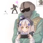 1girl 2boys bangs blush body_armor flower girls_frontline green_eyes gun hair_ribbon hairband handgun hat helmet highres hk416_(girls_frontline) long_hair military military_jacket military_operator military_uniform multiple_boys pistol rainbow_six_siege ribbon shirt silver_hair simple_background smile stukov tagme uniform weapon white_hair white_shirt