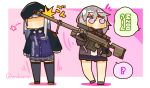 2girls ? anti-materiel_rifle bangs beret bipod black_gloves black_legwear black_skirt blunt_bangs bolt_action border brown_jacket cheytac_m200 chibi commentary_request full_body german_flag girls_frontline gloves grey_hair gun hat highres hitting hk416_(girls_frontline) holding holding_gun holding_weapon jacket lavender_eyes lcron long_hair looking_to_the_side m200_(girls_frontline) military_jacket multiple_girls muzzle_brake no_eyes open_clothes open_jacket pink_background plaid plaid_skirt pleated_skirt pocket rifle scope shirt shoes sidelocks silver_hair skirt sniper_rifle sniper_scope speech_bubble thigh-highs twitter_username weapon white_border white_shirt zettai_ryouiki