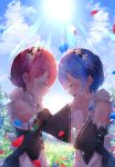 2girls absurdres bangs bare_shoulders blue_flower blue_hair blue_ribbon blush breasts closed_eyes commentary_request crying day detached_sleeves eyebrows_visible_through_hair flower from_side hair_ornament hair_over_one_eye hair_ribbon highres huge_filesize long_sleeves maid maid_dress maid_headdress multiple_girls open_mouth outdoors pink_hair pink_ribbon ram_(re:zero) re:zero_kara_hajimeru_isekai_seikatsu red_flower rem_(re:zero) ribbon short_hair siblings sisters suisen-21 sun twins x_hair_ornament