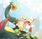 audino blue_eyes blue_sky claws clouds cloudy_sky commentary day english_commentary fangs gen_3_pokemon gen_5_pokemon grass highres looking_at_another mountain open_mouth outdoors pinkgermy pokemon protecting red_eyes seviper sky snake standing standing_on_one_leg tongue tongue_out zangoose