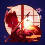 blue_background chocolatte closed_mouth clothed_pokemon floral_print flower from_side full_body gen_1_pokemon half-closed_eyes highres holding japanese_clothes jpeg_artifacts kimono lamp looking_at_viewer mask no_humans obi pink_flower pokemon pokemon_(creature) pole red_eyes red_kimono sash solo vulpix