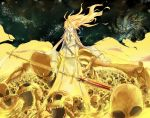 14sai14row 1boy blonde_hair dagger dies_irae gloves hair_between_eyes highres holding holding_spear holding_weapon long_hair male_focus necktie open_mouth parted_lips polearm reinhard_tristan_eugen_heydrich screaming skeleton skull smile solo spear standing torn_clothes weapon yellow_eyes yellow_gloves