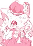 1boy animal_ears azuma_minatsu blush_stickers bow cat cat_boy cat_busters cat_ears cat_tail chrona_(cat_busters) crown dress furry gloves hat looking_at_viewer one_eye_closed simple_background solo tail trap twintails whiskers
