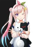 1girl airani_iofifteen arm_scrunchie danganronpa hair_ornament hair_ribbon hairband hairclip highres hololive hololive_indonesia hug kazenokaze monokuma off-shoulder_sweater off_shoulder one_eye_closed overalls paint_on_body paint_on_face parted_lips pink_hair ribbon side_bun side_ponytail smile sweater upper_body v violet_eyes virtual_youtuber