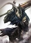1boy armor artorias_the_abysswalker cape cawang commentary_request dark_souls full_armor helmet holding holding_sword holding_weapon knight male_focus over_shoulder plume shoulder_armor signature solo souls_(from_software) spaulders standing sword sword_over_shoulder weapon weapon_over_shoulder