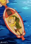 1boy 1other bangs blonde_hair boat brown_footwear child eyebrows_visible_through_hair green_headwear green_vest highres link lying ocean on_side parted_bangs parted_lips phrygian_cap pointy_ears sidelocks signature the_king_of_red_lions the_legend_of_zelda the_legend_of_zelda:_the_wind_waker thick_eyebrows tokuura toon_link unconscious vest water watercraft waves white_legwear