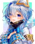 1girl amane_kanata angel angel_wings armband blue_eyes bow cuffs eyebrows_visible_through_hair feathered_wings grey_hair halo hands_on_own_chest highres hololive multicolored_hair open_mouth plaid smile solo syukonbu two-tone_hair upper_body virtual_youtuber wings