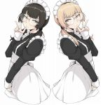 2girls act-age alternate_hair_color blonde_hair brown_eyes brown_hair closed_mouth dual_persona eyebrows freckles glasses highres ina_(gokihoihoi) long_hair long_sleeves looking_at_viewer low_twintails maid maid_headdress multiple_girls sanzaka_nanao simple_background twintails v white_background