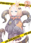 1girl abigail_williams_(fate/grand_order) absurdres bandaid_on_forehead bangs black_bow black_jacket blonde_hair blue_eyes bow breasts caution_tape crossed_bandaids fate/grand_order fate_(series) forehead hair_bow hair_bun heroic_spirit_traveling_outfit high_collar highres jacket keep_out long_hair multiple_bows object_hug orange_belt orange_bow parted_bangs polka_dot polka_dot_bow pupeng sleeves_past_fingers sleeves_past_wrists small_breasts solo stuffed_animal stuffed_toy teddy_bear tentacles thighs white_background