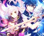 1boy 1girl :d bangs black_gloves blue_eyes blue_hair book chrom_(fire_emblem) closed_mouth collarbone falchion_(fire_emblem) fire_emblem fire_emblem_awakening floating_hair gloves grey_gloves holding holding_sword holding_weapon long_hair looking_at_viewer open_book open_mouth robin_(fire_emblem) shiny shiny_hair short_hair silver_hair sleeveless smile solo swept_bangs sword tida_2112 upper_body very_long_hair weapon yellow_eyes