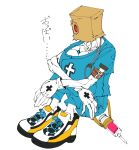 1boy bag boby_oreon collarbone faust_(guilty_gear) flat_color gloves guilty_gear guilty_gear_strive highres liquid male_focus paper_bag red_eyes shoes simple_background sitting sneakers solo syringe white_background white_gloves