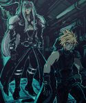 2boys :3 blonde_hair blue_eyes buster_sword cinnerone cloud_strife feathered_wings final_fantasy final_fantasy_vii final_fantasy_vii_remake floating gloves long_hair looking_at_another multiple_boys sephiroth shoulder_armor silver_hair single_wing slit_pupils spiky_hair sweatdrop sword very_long_hair weapon weapon_on_back wings