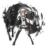 1girl arknights black_footwear black_legwear choker collarbone elite_ii_(arknights) eyebrows_visible_through_hair full_body grey_hair holding holding_shield holding_sword holding_weapon horns kneehighs looking_at_viewer neco official_art open_mouth red_eyes shield short_hair single_kneehigh solo sword transparent_background vulcan_(arknights) weapon