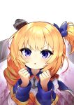 1girl absurdres anchor_necklace azur_lane bangs blonde_hair blue_bow blue_eyes blue_ribbon blush bow clenched_hands coat_dress collared_dress commentary_request dress eyebrows_visible_through_hair gold_trim gradient gradient_background hair_bow hair_ornament hands_up highres little_renown_(azur_lane) long_hair long_sleeves looking_at_viewer one_side_up open_mouth pg_(pege544) purple_background ribbon sidelocks solo two-tone_background upper_body white_background white_dress