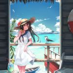 1girl absurdres bangs bird blue_sky boat brown_eyes brown_hair buoy clouds coaster commentary_request dress drinking_straw eating flower food food_on_face glass hamburger hat hat_flower highres holding holding_food ice ice_cube island leaning_back leaning_on_rail lime_slice long_hair maki_(maki_pei) ocean original palm_tree sailor_collar sky straw_hat summer sun_hat sundress tree watercraft white_dress wooden_chair wooden_railing