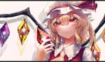 blonde_hair blush crystal eit_(ikeuchi) eyebrows_visible_through_hair flandre_scarlet frilled_shirt frilled_shirt_collar frilled_sleeves frills hat hat_ribbon highres mob_cap red_eyes red_ribbon red_vest ribbon shirt short_hair touhou vest white_shirt wings