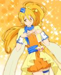 1girl bangs blonde_hair blue_neckwear closed_mouth collarbone cowboy_shot cure_etoile dress dutch_angle earrings eyebrows_visible_through_hair floating_hair hair_between_eyes hair_ornament highres hugtto!_precure jewelry koroni_(nkrgs) long_hair looking_at_viewer looking_to_the_side orange_dress precure shiny shiny_hair short_dress side_ponytail smile solo standing star star_earrings star_hair_ornament thigh_strap very_long_hair wrist_cuffs yellow_background yellow_capelet yellow_eyes
