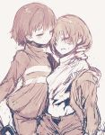 2others androgynous blush chara_(undertale) closed_mouth frisk_(undertale) greyscale groin monochrome multiple_others oshiruko_(tsume) shirt short_hair smile storyshift storyswap striped striped_shirt striped_sweater sweater undertale underwear