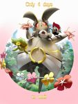 animal_on_arm bird bird_on_arm comfey commentary creature english_commentary english_text flower gen_7_pokemon magearna magearna_(normal) mythical_pokemon no_humans pikipek pinkgermy pokemon pokemon_(creature) pokemon_on_arm round_image