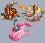 aquazeem black_eyes breathing_fire claws commentary creature english_commentary fire fish full_body gen_4_pokemon gen_5_pokemon grey_background heatmor highres jumping looking_at_viewer mud no_humans one_eye_closed pokemon pokemon_(creature) signature simple_background stunfisk wormadam wormadam_(trash)