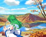 1girl autumn_leaves blue_sky clouds commentary_request day detached_sleeves frog_hair_ornament from_side gohei green_hair hair_ornament hair_tubes holding kochiya_sanae lake long_hair long_sleeves looking_away mountain outdoors reflection shirt sky snake_hair_ornament solo takuzui touhou tree upper_body white_shirt wide_sleeves
