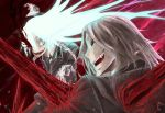 14sai14row 2boys arm_up battle black_neckwear black_sclera blood blood_on_face blue_eyes blue_hair dies_irae gloves glowing glowing_eye glowing_hair grey_hair highres long_hair looking_at_another male_focus multiple_boys necktie open_mouth sharp_teeth smile teeth tongue torn_clothes white_gloves