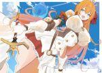 1girl armor blue_eyes breasts gauntlets kukikomori large_breasts open_mouth orange_hair pecorine princess_connect! princess_connect!_re:dive shoulder_armor solo sword tiara weapon