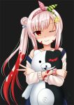 1girl airani_iofifteen arm_scrunchie black_background blood blood_on_face blood_stain danganronpa dark_persona hair_ornament hair_ribbon hairband hairclip highres hololive hololive_indonesia hug kazenokaze monokuma off-shoulder_sweater off_shoulder one_eye_closed overalls parted_lips pink_hair red_eyes ribbon shaded_face side_bun side_ponytail simple_background smile sweater upper_body v virtual_youtuber