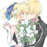 1boy 1girl artoria_pendragon_(all) black_jacket blonde_hair blue_bow bouquet bow closed_eyes closed_mouth collarbone couple dress elbow_gloves fate/stay_night fate_(series) flower gilgamesh gloves green_eyes hair_bow holding holding_bouquet holding_hands imminent_kiss interlocked_fingers jacket long_sleeves nayu_tundora open_clothes open_jacket ponytail saber shiny shiny_hair short_hair simple_background striped_sleeves upper_body wedding_dress white_background white_flower white_gloves white_sleeves