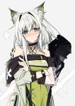 1boy 1girl animal_ear_fluff animal_ears arknights bangs bare_shoulders blush can't_be_this_cute cat_ears choker coat commentary crossed_arms detached_collar doctor_(arknights) dress english_commentary eyebrows_visible_through_hair green_dress green_eyes grey_background highres kal'tsit_(arknights) ore_lesion_(arknights) ore_no_imouto_ga_konna_ni_kawaii_wake_ga_nai pokarii_zuu short_hair silver_hair watch watch white_coat