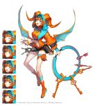 1girl :d absurdres ante_(seven_knights) belt belt_pouch blue_eyes boots chakram commentary crop_top curled_horns dragon_horns dragon_wings expressions fang highres holding hood hooded_jacket horns jacket key leg_belt lock long_sleeves looking_at_viewer loose_belt midriff navel official_art open_mouth orange_hair orange_jacket orange_shirt padlock pouch seven_knights shirt short_hair short_shorts shorts simple_background sleeveless sleeveless_shirt smile solo soyoong_jun stomach thighs weapon white_background wings