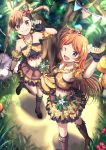 2girls ;d arm_strap banana black_gloves boots brown_eyes brown_footwear brown_hair collarbone criss-cross_halter crop_top fang fingerless_gloves floating_hair flower food from_above fruit futami_mami gloves grin halterneck hibiscus high_heel_boots high_heels holding holding_food holding_fruit idolmaster idolmaster_million_live! idolmaster_million_live!_theater_days knee_boots layered_skirt long_hair looking_at_viewer midriff miniskirt multiple_girls nanase_(7749222) navel one_eye_closed oogami_tamaki open_mouth orange_hair pleated_skirt red_flower shiny shiny_hair side_ponytail skirt smile standing stomach very_long_hair