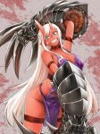 1girl arm_up armband blood breasts choker claw_(weapon) eyebrows_visible_through_hair facial_mark green_eyes highres horns huge_weapon large_breasts long_hair nujima ogre_gun_smoke oni pointy_ears red_skin sharp_teeth slit_pupils smile solo teeth torn_clothes very_long_hair weapon white_hair