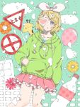 1girl balloon bandaid bangs blonde_hair blue_eyes bottle bow building clouds collarbone commentary drawstring expressionless feet_out_of_frame flower frilled_skirt frills giraffe green_hoodie hair_bow hair_ornament hairclip hand_in_pocket heart heart_print kagamine_rin looking_at_viewer melancholic_(vocaloid) miniskirt momo_pip orange_flower parted_lips pink_skirt pleated_skirt road_sign short_hair sign skirt solo stop_sign swept_bangs vocaloid white_bow yellow_flower