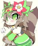 !!? 1girl animal_ears azuma_minatsu blush brown_hair cat cat_busters cat_ears cat_girl cat_tail character_request commentary_request dress flower furry green_dress green_eyes hair_flower hair_ornament pawpads slit_pupils solo striped_tail sweatdrop tail tiara whiskers