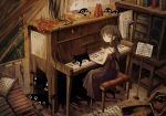1girl 1other black_cat book brown_hair cat chalkboard closed_mouth crying dress flower full_body indoors instrument long_hair mariyasu metronome music_stand original painting_(object) piano red_flower red_rose rose sheet_music sitting sleeveless sleeveless_dress smile speaker spirit streaming_tears tears xylophone yellow_eyes