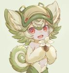 1girl animal_ears choke_(amamarin) curled_tail eyebrows_visible_through_hair flower fur green_background green_hair hat highres looking_at_viewer made_in_abyss messy_hair prushka red_eyes solo tail topless upper_teeth