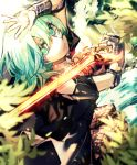 1girl arm_up blurry_foreground byleth_(fire_emblem) byleth_(fire_emblem)_(female) fire_emblem fire_emblem:_three_houses from_above green_hair highres holding holding_sword holding_weapon long_hair looking_at_viewer pantyhose shiny shiny_hair short_sleeves solo sword tida_2112 weapon