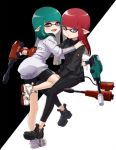 1girl bangs bike_shorts black_footwear black_jacket black_legwear black_shorts blunt_bangs blunt_ends closed_mouth commentary domino_mask dualie_squelcher_(splatoon) fangs green_hair grey_eyes grey_jacket half-closed_eyes hand_on_another's_shoulder hand_on_another's_thigh holding holding_weapon inkling invisible_chair jacket jet_squelcher_(splatoon) knee_up leaning_forward leggings light_frown logo long_hair looking_at_viewer looking_back mask open_mouth pointy_ears redhead shoes shorts single_vertical_stripe sitting smile sneakers solo splatoon_(series) splatoon_2 standing straddling takeko_spla tentacle_hair weapon white_footwear