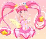1girl bangs blunt_bangs breasts choker closed_mouth collarbone cowboy_shot cure_star dress eyebrows_visible_through_hair floating_hair hair_ornament hoshina_hikaru long_hair pink_background pink_eyes pink_hair precure ryounoyoni shiny shiny_hair short_dress sleeveless sleeveless_dress small_breasts smile solo standing star star_hair_ornament star_twinkle_precure twintails very_long_hair white_dress wrist_cuffs