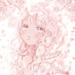 1girl bangs bare_shoulders cherry_blossoms day flower kousagi long_hair looking_away looking_up mouth_hold off_shoulder original petals pink_eyes pink_flower pink_hair pink_theme see-through solo spring_(season) tree_branch upper_body veil wavy_hair white_background