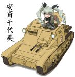 1girl absurdres anchovy_(girls_und_panzer) anzio_(emblem) anzio_military_uniform bangs belt black_neckwear black_ribbon black_shirt carro_veloce_cv-33 character_name commentary dress_shirt drill_hair emblem girls_und_panzer green_hair grey_jacket ground_vehicle hair_ribbon haruwo0096 highres holding jacket long_hair long_sleeves military military_uniform military_vehicle motor_vehicle necktie open_mouth radio red_eyes ribbon sam_browne_belt shirt smile solo tank translated twin_drills twintails uniform white_background wing_collar
